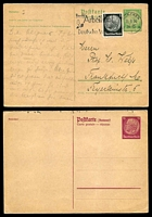 Lot 3780:1933-34 Hindenburg Mi #P228.IA 5pf+5pf yellow-green addressee's half, Cat €150, uprate with 1pf black, used Munich to Frankfurt. Plus unused 15pf+15pf addresse half.