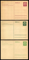 Lot 3778:1933-34 Hindenburg New Postkarte Mi #P225-7 5pf yellow-green, 6pf dark green & 15pf brownish lilac all imperf, unused