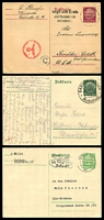 Lot 3779:1933-34 Hindenburg New Postkarte Setting Mi #P225-7 5pf yellow-green, 6pf dark green & 15pf brownish lilac all imperf, all used, 15pf late use 1940 to USA, censored
