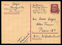 Lot 3777:1933 Hindenburg Mi #P222 15pf brownish lilac, Cat €50, used Frankfurt to Paris.