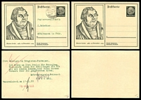 Lot 3605:1933 Martin Luther HG #P224 6pf black x2, one unused & one used.