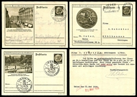 Lot 3607:1934 Hindenburg 'Lernt Deutschland Kennen!' HG #P236 6pf dark brown x3, all used, code 36-70-1-B3 with Heidelberg University seal & 41-178-1-B5 with Litzmannstadt view, 38-109-1-B8 with Friedrichroda