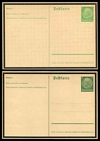 Lot 3606:1934 Von Hindeburg Mourning HG #P234-5 5pf yellow-green and 6pf dark green, both on buff stock