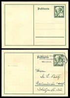 Lot 3783:1935 Charity Mi #P256 6pf+4pf dark green x2, one unused, the other used