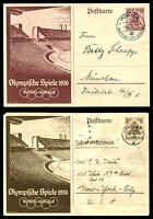 Lot 3784:1936 Olympics Stadium Mi #P259-60 6+4pf brown & 15+10pf brownish lilac, both used, 6+4pf to USA (faults and stamp removed), 15+10pf local use in Munich