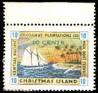 Lot 22032:Christmas Island: 1934 Cocoanut Plantations Ltd 10c blue numerals MNG marginal single.
