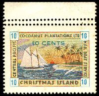 Lot 22033:Christmas Island: 1934 Cocoanut Plantations Ltd 10c blue numerals MNG marginal single with Double perfs at top.