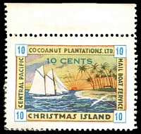 Lot 20381:Christmas Island: 1934 Cocoanut Plantations Ltd 10c blue numerals MNG marginal single.