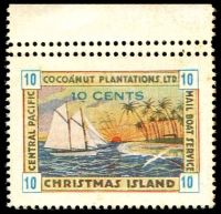 Lot 22879:Christmas Island: 1934 Cocoanut Plantations Ltd 10c blue numerals MNG marginal single with Double perfs at top.