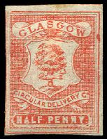 Lot 22404:Glasgow Circular Delivery Company: 1866 ½d dull scarlet imperf on laid paper.