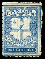 Lot 3579:1866 London & Metropolitan Circular Delivery Company: SG #CD31 ¼d deep blue Pin Perf 10½-11, Cat £40.