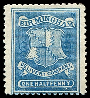 Lot 22400:1867 Birmingham Circular Delivery Company: SG #CD50 ½d blue P12, Cat £15.