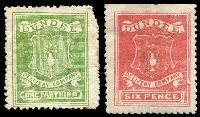 Lot 3578:Dundee Circular Delivery Company: 1867 forgeries group with ¼d green & 6d carmine. (2)
