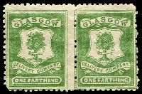 Lot 22405:Glasgow Delivery Company: 1867 ¼d green pair, forgery
