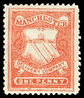 Lot 22401:1867 Manchester Circular Delivery Company: SG #CD52 1d scarlet P12, Cat £15.