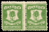 Lot 3865:Glasgow Delivery Company: 1867 ¼d green pair, forgery