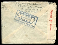 "Lot 4163 [2 of 2]:1940 (Jul 30) use of 2/6d brown & 1/- pair on cover to Australia endorsed ""North Atlantic and Trans Pacific Air Routes"", Thomas Cook, Melbourne arrival backstamp, censored in Melbourne."