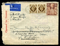 "Lot 4163 [1 of 2]:1940 (Jul 30) use of 2/6d brown & 1/- pair on cover to Australia endorsed ""North Atlantic and Trans Pacific Air Routes"", Thomas Cook, Melbourne arrival backstamp, censored in Melbourne."