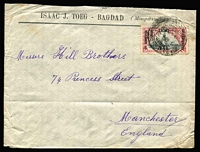 Lot 23599:1921 (Aug 7) use of Occupation 3a on cover (creased) from Baghdad to Manchester.