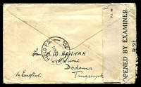 Lot 25072 [2 of 2]:1944 cover from Dodomo to Capt in the 3rd Aust Light Field Ambulance, which at the time was at Chidlows WA, backstamped with 'A.I.F. FIELD P.O./16MR44/30.' (LRD) and redirected to 115 AGH Heidelberg. Censor label 'R/21' at left.