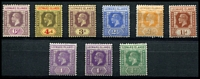 Lot 3897:1921-32 KGV Wmk Mult Script CA SG #59-72 ½d green, 1d violet x2 shades, 1½d red-brown, 2½d orange-yellow, 2½d bright blue, 3d, 4d & 6d, range, Cat £48.