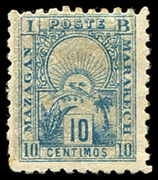 Lot 4165:1893-95 Mazagan - Marrakech: Yvert #47 10 centimos blue on grey underprint.