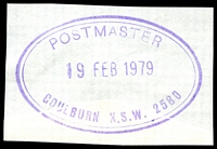 Lot 1365:Goulburn: - violet double-oval 'POSTMASTER/18FEB1979/GOULBURN N.S.W. 2580' on piece.  PO 1/2/1832.