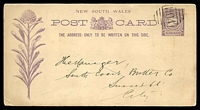 Lot 5977 [1 of 2]:1104: 2nd type BN (numbers 7mm high) on 1d Centennial Postal Card, 1894 use to Sydney.  Allocated to Redmyre-PO 16/10/1881; renamed Strathfield PO 1/4/1886.