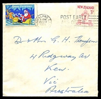 Lot 4471:1958 (Nov 25) cover to Australia with Christmas cinderella tied to face.