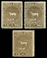 Lot 4138:Tromso Bypost: 1882 2ø brown x3 (one with faults).