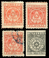 Lot 27382:1898 Filipino Revolutionary Government SG #239,P241 2c red x2 (plus used with faults) & imperf 1m black.