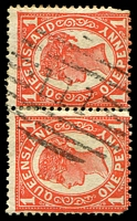 Lot 1327:111: BN on 2d 4-Corners pair.  Allocated to Isis Downs-PO 1/6/1868; replaced by Wittown PO c.1876; renamed Isisford PO 1/1/1878.