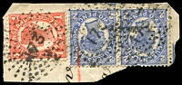 Lot 1708:173: rays on 1d & 2d 4-Corners pair on piece. [Rated R]  Allocated to Millchester-PO 5/3/1873; closed 22/1/1917.