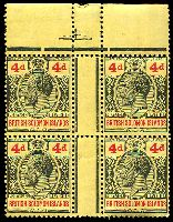 Lot 4620:1914-23 'POSTAGE REVENUE' Wmk Crown/CA SG #29 4d black & red/yellow gutter block of 4, MUH, some perf separation.