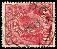 Lot 1681:Lock No. 2: - 'NO 2 LOCK/15MR26/[S].A' on 1½d red KGV with Shaved TRC [24R50].  PO 7/10/1924; closed 24/12/1927.