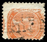 Lot 2083:114: on 2d orange DLR P10.  Allocated to Black Springs-PO 26/2/1858; renamed Saddleworth PO 1/4/1858.