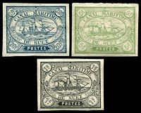 Lot 4403 [2 of 2]:1868 forgeries of 1c, 5c, 10c x3 & 40c x2, at least two different types. (7)