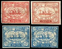 Lot 4403 [1 of 2]:1868 forgeries of 1c, 5c, 10c x3 & 40c x2, at least two different types. (7)