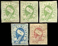 Lot 28003:Rigo-Scheideck Hotel Post: 1868 all imperf, green x3, carmine & blue (roughly separated). (5)