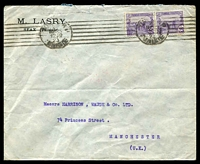 Lot 29064 [1 of 2]:1923 (Mar) use of 25c violet pair on cover from Sfax to Manchester, cancelled at Tunis.