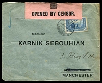 Lot 28465:1921(C) use of 1pi blue on censored cover from Mahmoud-Pacha to Manchester.