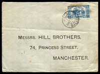 Lot 4505 [1 of 2]:1921 (Nov 5) use of 3pi blue on cover (a few tones) from Galata to Manchester.