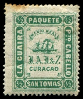 Lot 4551:La Guaria St Tomas Reprint: 1868 ½r green P15, toned perfs.