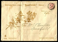 Lot 2113:1904 (Dec 30) use of 1d pink on illustrated cover for Raphael Tuck & Sons Bartolozzi Calendar for 1905, from Melbourne to Lancefield, flap unsealed for printed matter rate, a few edge tears typical of these larger envelopes.
