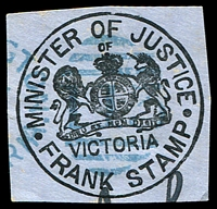 Lot 1883:113: right half of duplex in blue on Minister of Justice Frank cut-out.  Allocated to Schnapper Point-PO 21/5/1856; renamed Mornington PO 16/8/1864.