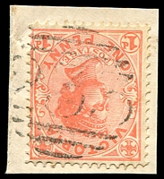 Lot 10551:233: light 2nd type on 1d pink on piece. [Rated S]  Allocated to Ravenswood-PO 15/11/1858; renamed Ravenswood R.S. PO 15/4/1884; renamed Ravenswood PO 4/4/1970.