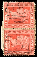 Lot 11888:581: on QV 1d red pair on piece.  Allocated to Tintaldra-PO 1/1/1867; LPO 7/4/1994.