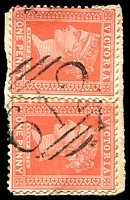 Lot 12420:612: on QV 1d red pair on piece.  Allocated to Corop-PO 1/1/1868; LPO 30/5/1994.