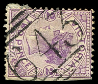 Lot 10753:643: on 2d violet. [Rated S]  Allocated to Whorouly-PO 20/2/1868; LPO 1/9/1994.