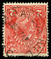Lot 2638:Box Hill: - WWW #510A '[P]AID AT BOX HILL/■■--27AP23/[V]IC' on 2d red KGV. [Rated 2R - much scarcer cancelling a stamp!]  PO 1/2/1861; replaced by Box Hill Business Centre BC c.-/10/1991.